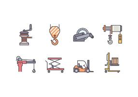 Winch En Lifting Machine Icons vector