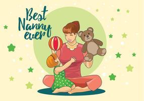 Nanny Spelen Met Kinderen In De Home Vector