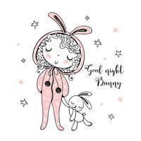 meisje in pyjama's in de vorm van een konijn