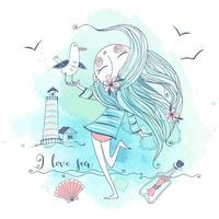 schattig meisje aan de kust met een meeuwvogel. vector