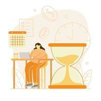 vrouwen die aan laptop met grote zandloper en klok werken vector