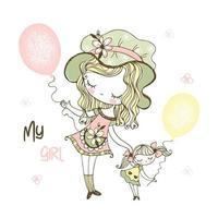schattig meisje met haar pop en ballonnen.