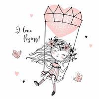 schattig meisje vliegen op een ballon