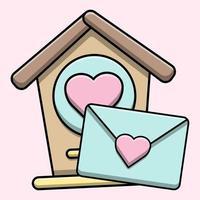 schattig vogelhuisje met liefdesbrief vector