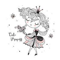 kleine schattige prinses met een boeket bloemen. vector
