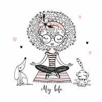 schattig meisje met krullen zitten in lotushouding