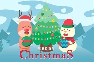 vrolijk kerstfeest achtergrond met herten en sneeuwpop