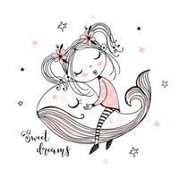 schattig meisje slaapt zoet op een magische walvis. vector