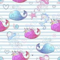 schattige zeedieren op gestreepte achtergrond.