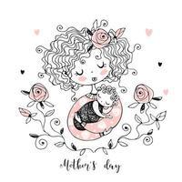 de moeder met de baby. moederdag kaart. vector
