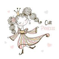 schattige sprookjesprinses in doodle stijl. vector