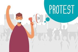 man met gezichtsmasker en megafoon protesteren