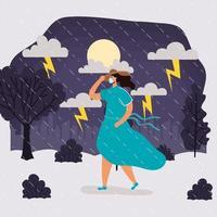 vrouw met gezichtsmasker in regenachtig weerlandschap