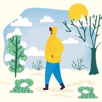 man met gezichtsmasker in een landschap met koud weer