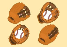softball handschoen set vector