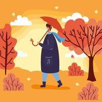 man met gezichtsmasker in een herfstlandschap