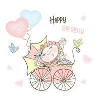 een meisje met een kinderwagen en ballonnen.