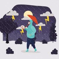 man met gezichtsmasker in regenachtig weerlandschap