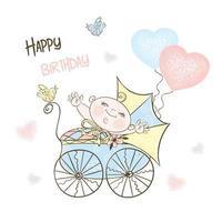 een jongen met een kinderwagen en ballonnen.