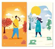 mensen met gezichtsmaskers in seizoensgebonden scènes kaartenset