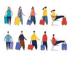 interraciale reizigers met koffers avatar-karakters vector