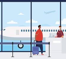 man met gezichtsmasker en koffer op de luchthaven vector