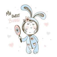 schattige baby in pyjama konijntje bewonderen in de spiegel.