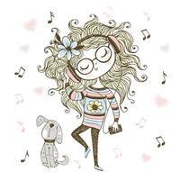 schattig meisje, luisteren naar muziek met een koptelefoon en dansen vector