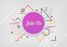 Join Us Button Met Memphis Pattern vector