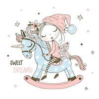 klein meisje slaapt op een stuk speelgoed paard. vector