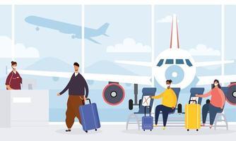 reizigers die op de luchthaven wachten om een vlucht te halen vector