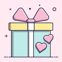 schattig cadeau en harten, plat ontwerp