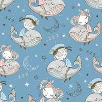 schattig meisje slaapt zoet op een magische walvis