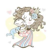 moeder houdt haar baby vast. Moederdag vector