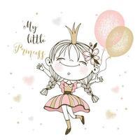 schattige kleine prinses met ballonnen vector