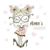 klein meisje poseren in de grote schoenen van haar moeder vector