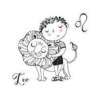 het sterrenbeeld leeuw. schattige jongen met een leeuw