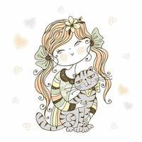 schattig meisje met kat. kittens mijn liefde