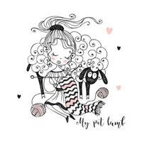 een meisje breit naast een lam een sjaal