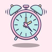 schattige minimale roze wekker vector