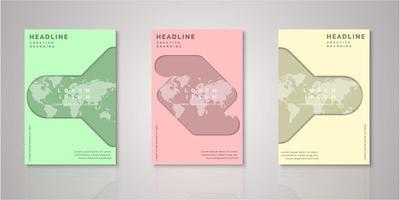 set van abstracte vorm wereldkaart papier gesneden covers