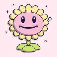 schattige zonnebloem cartoon