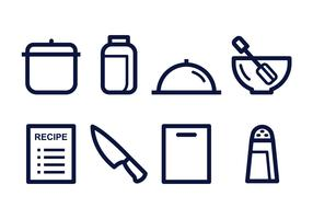 Gratis Cooking Lineaire Icon Set vector