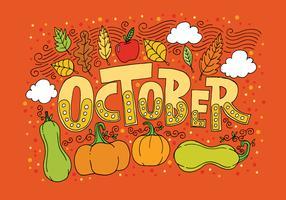 Oktober Lettering Vector Achtergrond