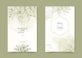 bloemen bruiloft uitnodigingskaart.