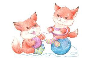 aquarel schattige cartoon vossen in sokken met geeuw