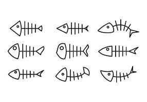 Fishbone Line Icon Gratis Vector