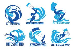 Set Kitesurfer Flying Over The Wave Vectors