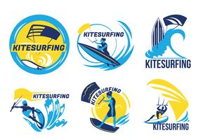 Set Kite Surfing op Blue Sea Vector Badges