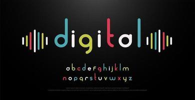 digitaal muziek kleurrijk alfabet vector